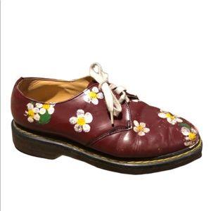 Dr Martens vintage hand painted floral shoes sz 8